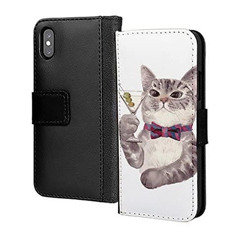 Gatto bere champagne vino divertente Meme PU cuoio portafoglio in carta telefono copertura per Samsung Galaxy A90 5G