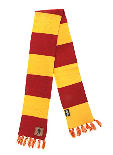 Warner Brothers Harry Potter Gryffindor House Patch Striped Cosplay Costume Knit Scarf for adults an
