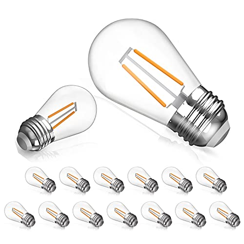 15 Pack S14 LED Bulbs for Outdoor String...