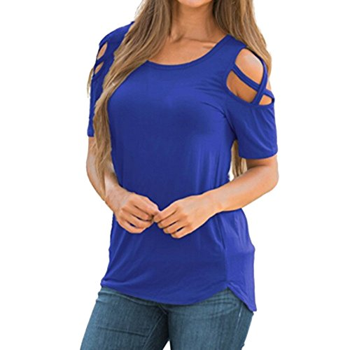 SHOBDW Mujeres de Manga Larga sólido más el tamaño de Encaje Blusa Casual Tops Sueltas Camiseta (Púrpura, L)
