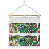 Bolsa de almacenamiento para colgar en la pared, bolsillo organizador sobre la puerta, bolsas de tela de lino de algodón para armario, sala de estar, dormitorio, baño (pesca de trucha marrón amorosa)