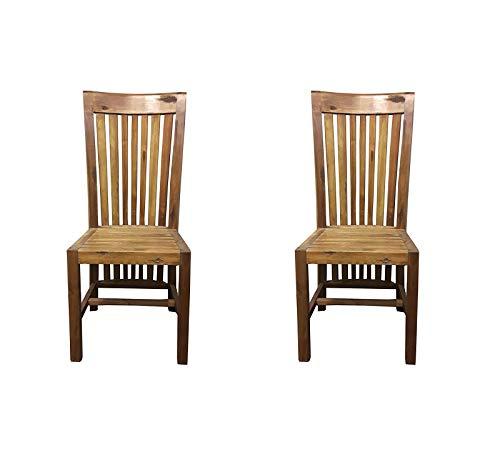 SAM® 2er Set Stilvoller Esszimmerstuhl Imke aus Akazie-Holz, Stuhl in zeitlosem Design, naturbelassene Optik, individuelle Maserung, Unikat für Ihr Wohnzimmer, Esszimmer, Küche