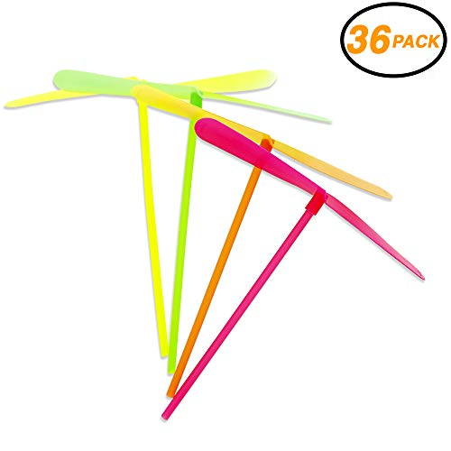 SRENTA 8' Mini Flying Dragonflies, Plastic Bamboo-Copter Bamboo Dragonfly Toy for Kids, Pack of 36