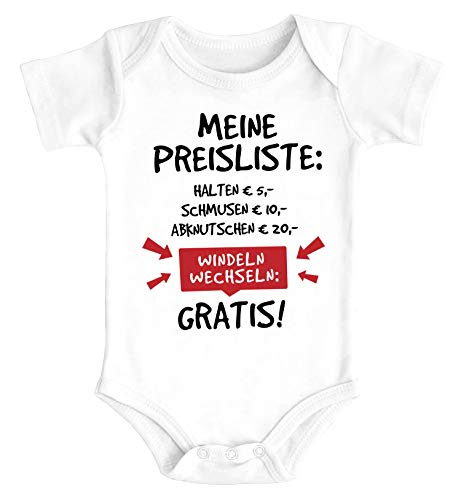 MoonWorks® Baby Body mit Spruch lustig Meine Preisliste Bio-Baumwolle Jungen & Mädchen weiß 0-3 Monate