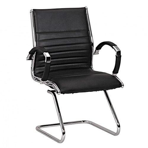FineBuy Design Besucherstuhl Echt Leder Schwarz für Büro | Konferenzstuhl mit Armlehnen - Bis 120 KG | Freischwinger Stuhl ergonomisch gepolstert