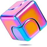 Zhanmai Fidget Cube Spinner Anti-Anxiety Focusing Fidget Toys 4-in-1 Spinning Toy Metallic Focus Toy Cube Finger Top Desktop Stress Relieve Toys for Kids and Adults (Neon Rainbow)