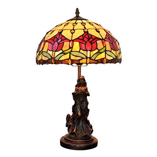 L-YINGZON de noche y lámparas de mesa, 12 pulgadas Stained Glass lámpara de escritorio Europeo Jardín retro rojo de los tulipanes Sala Comedor Dormitorio lámpara de cabecera de interior Lámparas de me