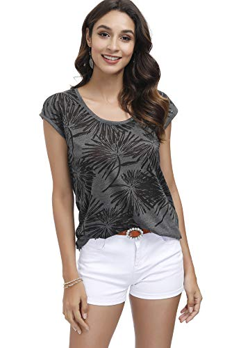 DOTIN Damen T-Shirt Kurzarm Sommer Shirt mit Ausbrenner Druck Ärmellos Locker Bluse Basic Tee
