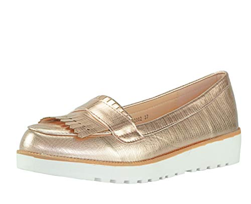 CAPRIUM Moderne Schuhe Espadrilles Sandalen Mokassin Fransen Halbschuhe, Damen 000M2001 (40, Rosegold M2002)