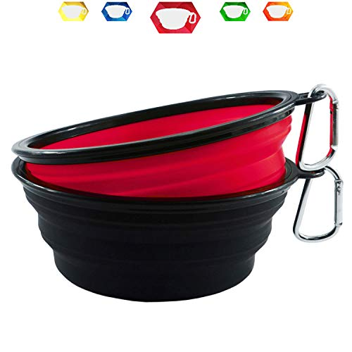 Himi 34OZ Silicone Collapsible Travel Dog Bowl - Set of 2 Large 1000ML Bowl - Premium Pet Bowl for Food&Water