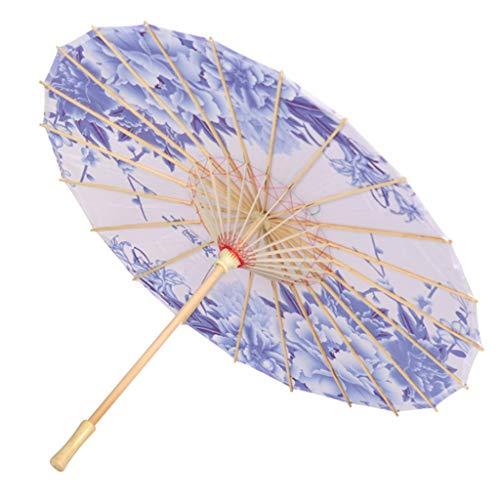 Coversolate Chinesischer Papierschirm Blume Regenschirm Sonnenschirm Schirm Bambus Holz Hochzeit Foto Cosplay Requisiten (Blau)