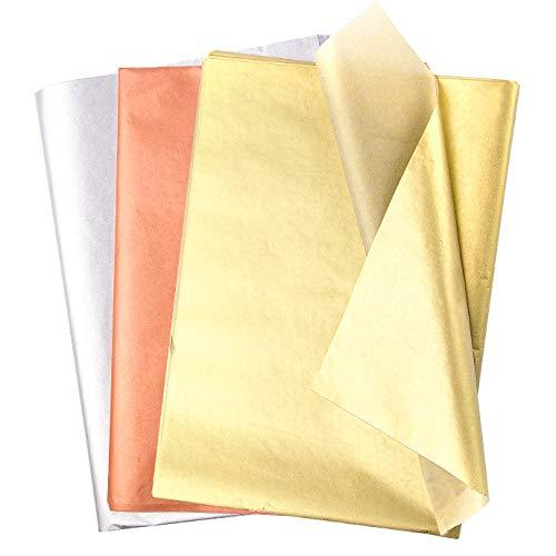 KONUNUS 60 Blatt Metallic Seidenpapier Geschenkpapier Roségold Gold Silber Tissue Paper Verpackungsmaterial für Weihnachten Geburtstagsgeschenk Gechenkverpackung  DIY Craft Dekorationen