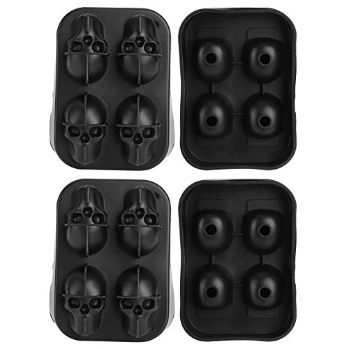 BuyWeek Ice Cubes Mold, 2Pcs 4-Grid Unique Skull Shape Silicone Ice Mold for Home Bar Use Black