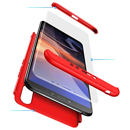 TANGNI XiaoMi Mi Max 3 Hülle,XiaoMi Mi Max 3 Schutzhülle[Mit Gehärtetem Glas Bildschirmschutz] XiaoMi Mi Max 3 Handyhülle Schale hülle für XiaoMi Mi Max 3 360 °vollständiger Paketschutz - Rot