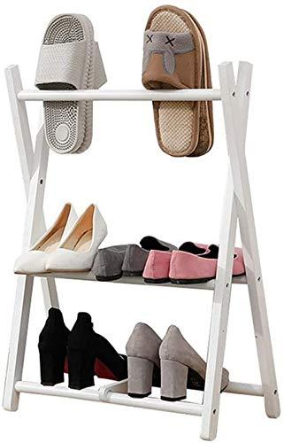 aipipl Organizador de Zapatos Creativo Pequeño Estante de Zapatos de 2 Capas Entrada de la casa Estante de Almacenamiento de Dormitorio Estante de Zapatillas de Madera Estante de Ahorro de Espacio