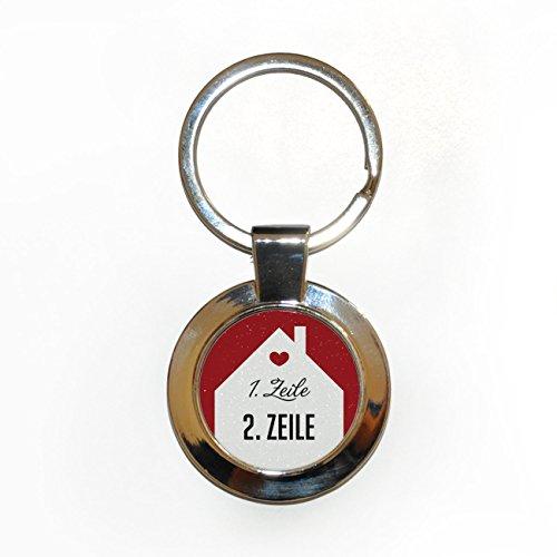 Herz & Heim® Edelstahl Schlüsselanhänger als Einzugsgeschenk mit Namensaufdruck in Geschenkverpackung