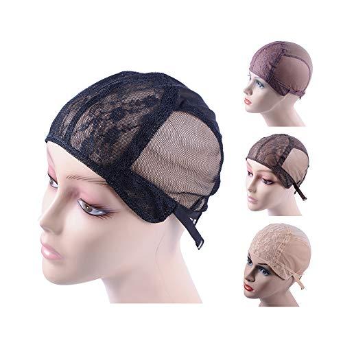 Bonnet de perruque double dentelle pour la confection de perruques avec bretelles réglables dans le dos Filet à cheveux sans colle (noir L 56 cm)