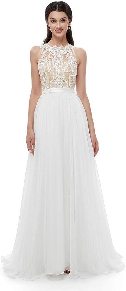 Datangep Women's Sexy Bohemia Chiffon Lace Bridal Wedding Dresses Beach White