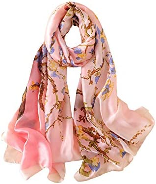 Womens Floral Print Silk Feel Long Large Scarf Pashmina Wraps for Wedding Party Gift Pink One product image