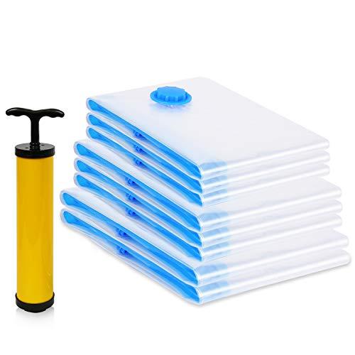 Vakuum- Beutel- 8-teiliges Sparset (3 Verschiedene Größen) für die Reise oder zur platzsparenden und staubfreien Aufbewahrung von Kleidungsstücken