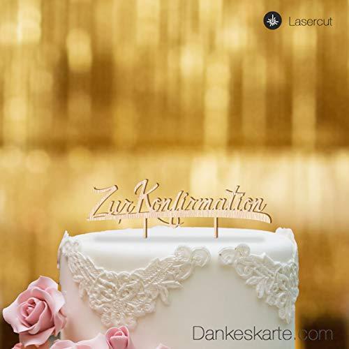 Dankeskarte.com Cake Topper Zur Konfirmation - für die Torte zur Konfirmation - Buchenholz - XL - Tortenaufsatz, Kuchen, Tortendeko, Tortenstecker, Kuchanaufsatz, Kuchendeko