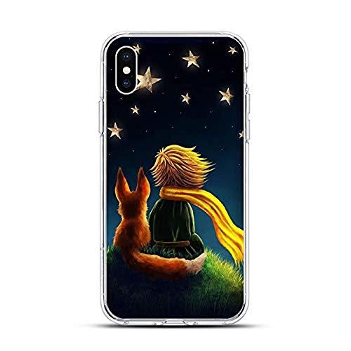Preciosa funda protectora en forma de estrella para iPhone 11 Pro X XR XS Max 7 8 6 6s Plus 5s SE Funda para teléfono móvil Little Prince Rose