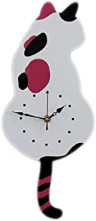 セイコー クロック 掛け時計 スウィングテールアクリル腕時計漫画クリエイティブウォールクロックノルディックは彼のテール猫の壁時計を振った 電波時計 (色 : 白)
