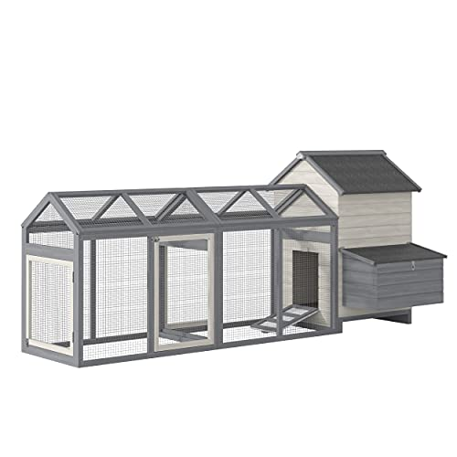 """PawHut 100"""" Chicken Coop Wooden Hen House Large Rabbit Hutch Poultry Cage Pen Backyard with Double Run, Nesting Box"""