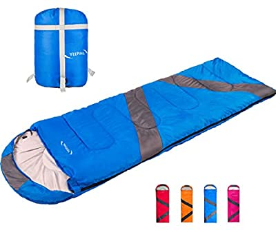 Yeeping 3-4 Season Envelope Sleeping Bag with Compression Sack - Waterproof, 20 Degree Fahrenheit, 3 Lbs Filling, Great for Kids, Youth and Adults, Hiking/Camping/Traveling, Warm/Cool Weather, Blue