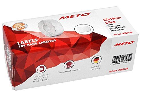 Original Meto Preisauszeichner Etiketten 9506158 (22 x 16 mm, 2-zeilig, 6.000 Stück, wiederablösbar, Preisetiketten für Meto, Contact, Sato, Avery, Tovel, Samark etc.) 6 Rollen, weiß