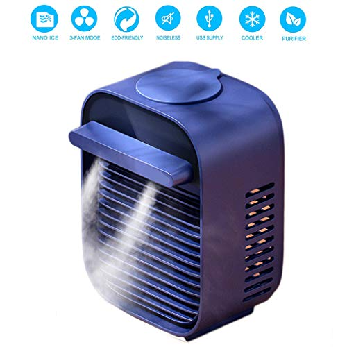 Portable Air Conditioner Fan, Mini Conditioner Evaporative Cooler, Personal Space Cooling Fan&Evaporative Ultrasonic Nano Ice Misting Humidifier Purifier Unit,Arctic Air Circulator with 3 Wind Speed