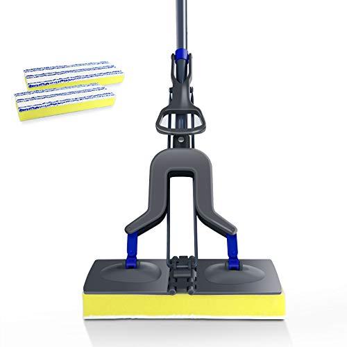 MASTERTOP Sponge Mop - Microfiber Floor Mop, Flat Sponge Mops for Floor/Kitchen/Bathroom Cleaning Squeeze, 2 Sponge Mop Head Replacement,Telescopic Handle