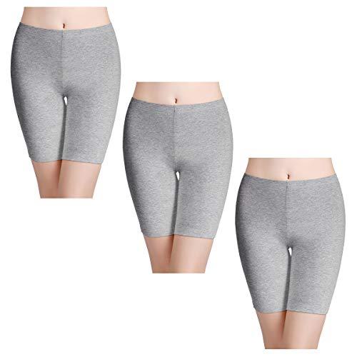 wirarpa Boxershorts Damen 3er Pack Lang Baumwolle Unterwäsche Weich Panties Hosen Unter Kleid Grau Größe XXL