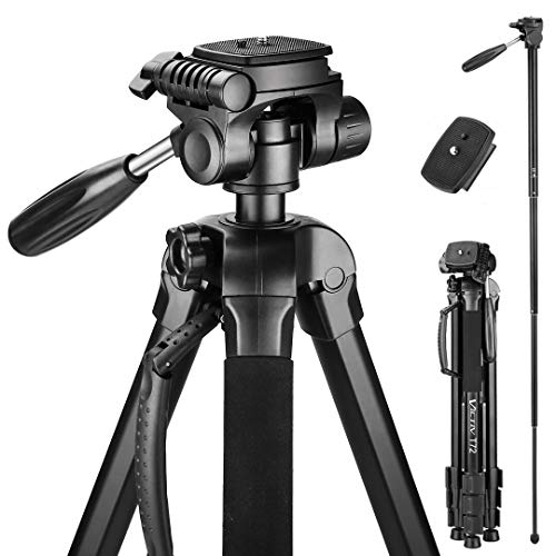 Victiv 72inch Camera Tripod Aluminum Monopod T72 Max Height 182 cm  Lightweight and Compact for Travel with 3way Swivel Head and 2 Quick Release Plates for Canon Nikon DSLR Video Shooting  Black