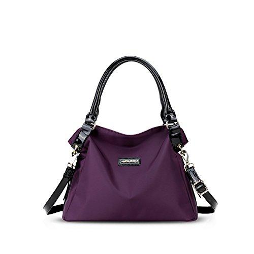 NICOLE&DORIS Nuevo Bolsos de Mano para Bolso Crossbody Mujer Grande Bolso de Bandolera Nylon Púrpura