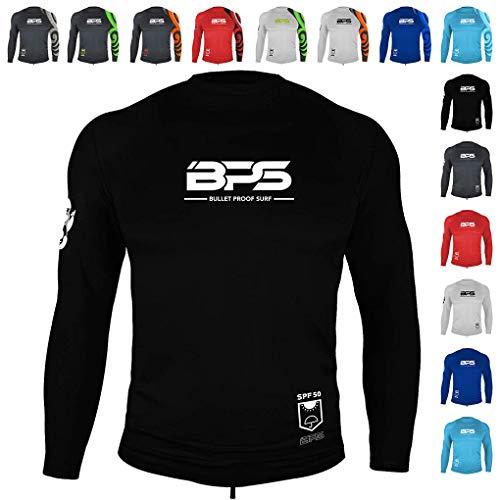 BPS Men's UPF 50+ Short Sleeve and Long Sleeve Swim Shirt/Rash Guard with Sun Protection (Black, S)