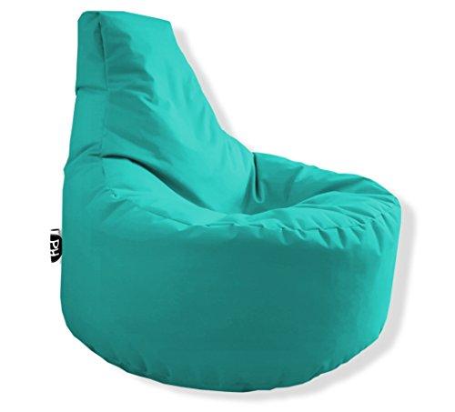 Patchhome Gamer Kissen Lounge Kissen Sitzsack Sessel Sitzkissen In & Outdoor geeignet fertig befüllt | Türkis - Ø 75cm x Höhe 80cm - in 2 Größen und 25 Farben