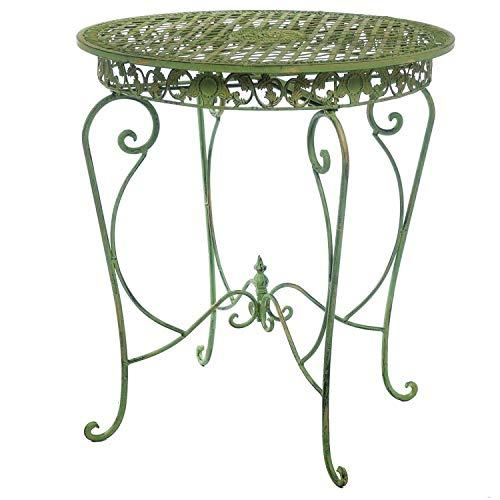 aubaho Table de Jardin Style Antique Fer crémeuse Verte
