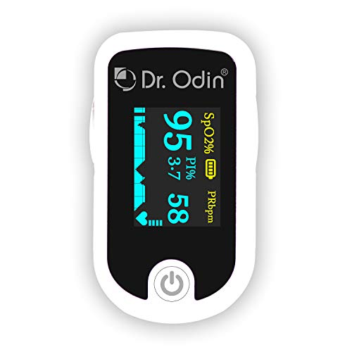 Dr. Odin Pulse Oximeter Fingertip +PI FS20E, with Pulse Sound OLED Display Alarm Alert, Oxygen Saturation Monitor and SPO2...
