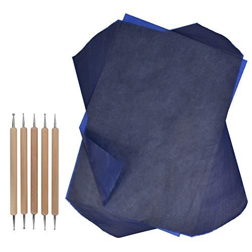 YOTINO 100 Blatt Blue Kohlepapier A4 Carbon Papier Graphitpapier für Holz, Papier, Segeltuch usw. + Prägestift mit 5 auswechselbaren Spitzen Kohlepapier Transfer-Papier Kohlepapier