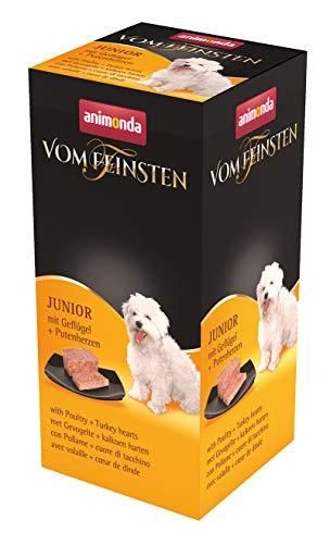 animonda Vom Feinsten Hundefutter Junior, Nassfutter für Hunde im Wachstum, Geflügel + Putenherzen, 6 x 150 g