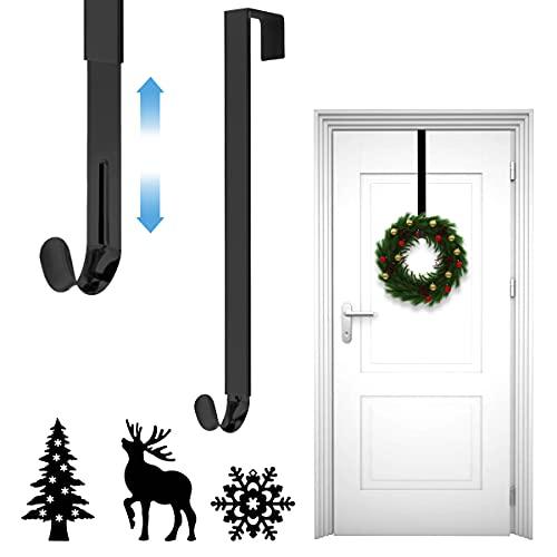 Mengxin Ajustable Colgador Puerta Navidad Gancho de Guirnalda de Puerta en Metal con Muñeco de Nieve, Alce y Decoración de árbol de Navidad para Exhibición Interior y Exterior