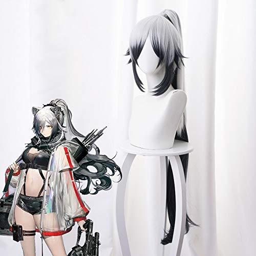 Juego de alta calidad Arknights Schwarz Cosplay peluca gris plateado se desvanece en negro Long Ponytail Role Play Disfraz pelucas492T