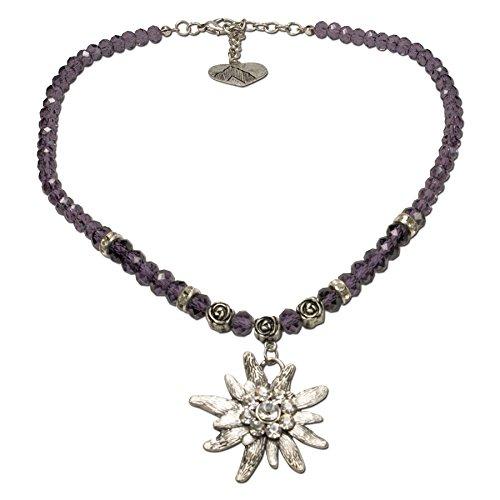 Alpenflüstern Perlen-Trachtenkette Fiona Crystal mit Strass-Edelweiß groß - Damen-Trachtenschmuck Dirndlkette lila-violett DHK142