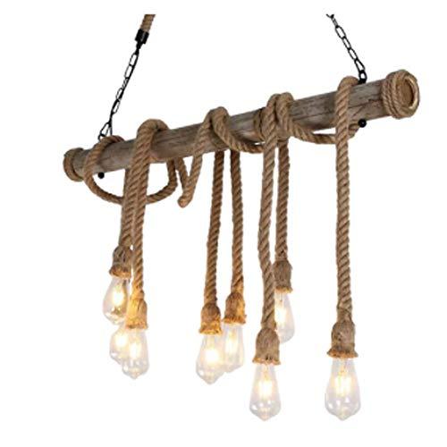 lampadario a sospensione urban Lampadario a corda a sospensione soffitto 8x E27 stile Industrial Canapa e Bamboo da soffitto Vintage 100x140 cm