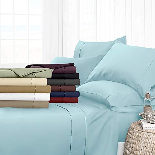 Noble Comfort Linen Drap-Housse de Luxe Lisse 100% Coton égyptien 3 pièces 5–63,5 cm Motif uni 500 Fils Toutes Tailles et Couleurs (Petit Double, Bleu Aqua)