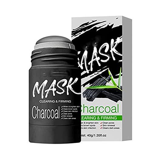 VC / Máscara de barra de arcilla purificadora de carbón de bambú Limpieza profunda-Control de aceite Belleza Hidratante (black)