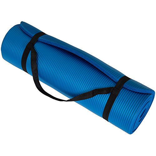 Wakeman Extra Thick Yoga Mat- Non Slip Comfort Foam, Durable Exercise Mat for Fitness, Pilates and Workout with Carrying Strap Fitness (Blue)