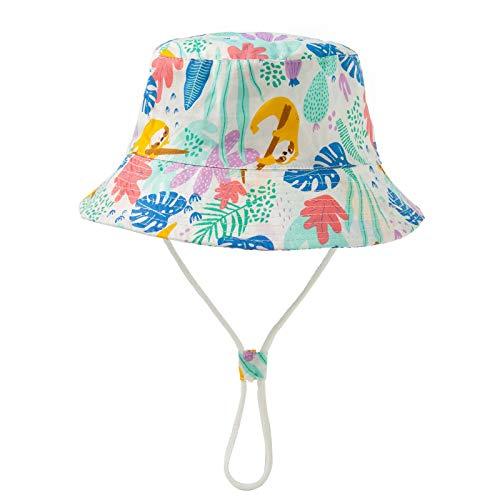 Sonnena Baby Sonnenhut UV Schutz Fischerhut Strandhut Kleinkind Kinder Cartoon Sommerhut mit Tierdruckt für 0-12 Jahre Jungen Mädchen