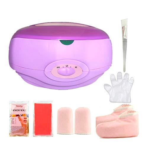 Calentador de parafina Baño de parafina Calentar muy Rápido Calentador de Parafina para Manos y Pies Juego botines aguantes+parafina 900G (KIT-Lila)